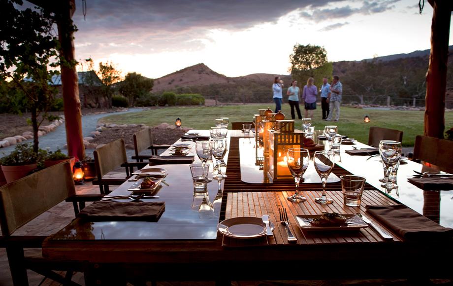 Arkaba Homestead dining outside