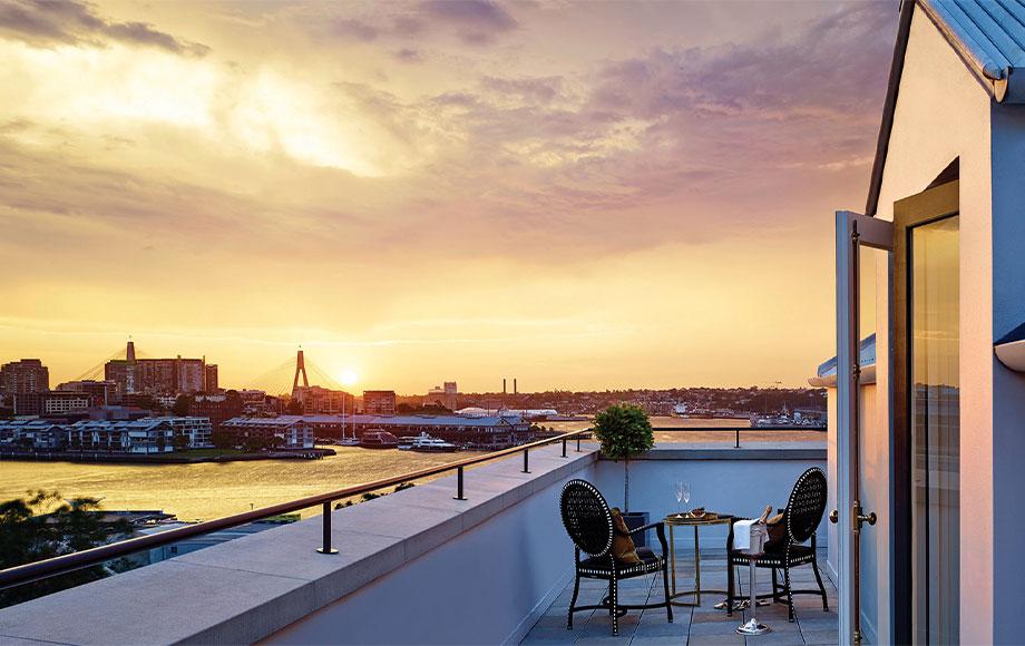 Langham Sydney sunset view from balcony
