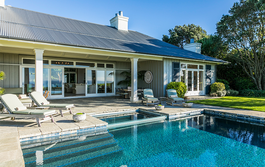 The Lodge at Kauri Cliffs exterior and pool