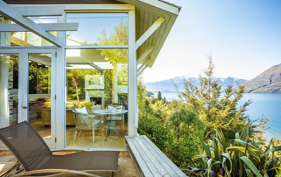 Matakauri Lodge deck with amazing view